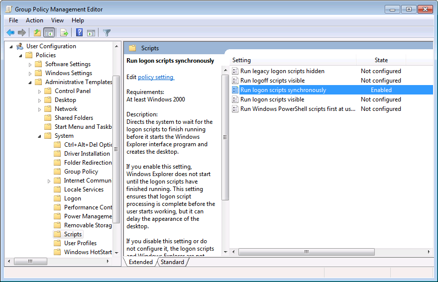 Group policy for running logon script synchronously